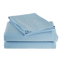 300 Thread Count Full Sheet Set Bamboo Solid - Light Blue - As soft as silk and as durable as cotton, these bamboo derived sheets are at the meeting point of style, comfort and durability. Made from 100% Bamboo derived Rayon, this set of sheets allows your body to breathe in the summer while keeping you warm in the winter. Set includes One Flat Sheet 83x99, One Fitted Sheet 55x77, and Two Pillowcases 21x32 each.