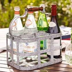 """Galvanized Metal 6-Pack Drink Caddy - It may not be necessary but it sure is fun. This has the obvious use of a wine/beverage storage and transportation but could be used on a more regular basis to hold flowers in a vase or create a different decorative piece in an outdoor space. Put old fashioned bottles in it and leave it out all the time.Drink Caddy: 10"""" wide x 12.5"""" deep x 12.5"""" high"""