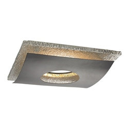 Recesso Lighting by Dolan Designs - Hammered Chrome Decorative Square Ceiling Trim for Recessed Lights - 10912-26/34 - Transform any existing recessed light into a decorative ceiling flushmount light in a matter of minutes. This decorative trim can be used with most 5 to 6 inch recessed housings with a maximum wattage of 26-watts. If the existing light bulb is over 26-watts you can switch the bulb out with a medium base spiral compact fluorescent bulb, The LED retrofit module features a 30,000 hour life, output of 1062 Lumens, 82 CRI and 3,000K color temperature. Wattage is 15.3 and is dimmable to 5% with most dimmers. It is equipped with E26 medium screw-in base socket adapter. UL listed. Dry location rated.