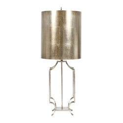 Worlds Away - Worlds Away Iron Lamp, Champagne Silver Leaf - Champagne Silver leaf iron lamp base with champagne Silver leaf metal drum shade. Ul approved for one 60 watt bulb.