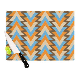 """Kess InHouse - Julia Grifol """"My Triangles in Blue"""" Aqua Orange Cutting Board (11"""" x 7.5"""") - These sturdy tempered glass cutting boards will make everything you chop look like a Dutch painting. Perfect the art of cooking with your KESS InHouse unique art cutting board. Go for patterns or painted, either way this non-skid, dishwasher safe cutting board is perfect for preparing any artistic dinner or serving. Cut, chop, serve or frame, all of these unique cutting boards are gorgeous."""