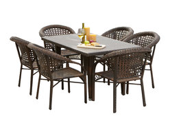Great Deal Furniture - Louisiana 7-pieces Outdoor Wicker Dining Set - The Louisiana 7-pieces Outdoor Wicker Dining Set is a stylish dining table, made of durable all-weather PE wicker. It comfortably seats six but still offers an intimate setting suitable for a romantic meal. Our beautiful, one-of-a-kind wicker provides an aesthetic appeal that makes the table and chairs fit the most formal, most casual, and all decors in between. The rich, natural color of the wicker will fit with any nearby landscape, pool area or inside a screened porch.