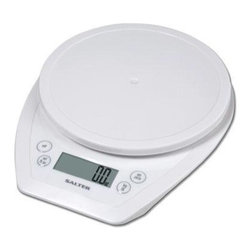 "Taylor - Salter Aquatronic Kitchen Scale White - Salter Aquatronic electronic kitchen scale - weighs both dry and liquid ingredients.  .5"" LCD readout.  Includes baker's chart for conversion of weights to volume.  Weigh on platform or with any bowl or container.  Add & weigh tare feature.  Auto zero/auto shut off.  11 /b/5 kg capacity in 1/8 oz./1 g increments.  White base and platform."