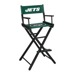 Imperial International - New York Jets NFL Directors Chair - Take a look at this great Bar-Height Director's Chair. It has black stained hardwood, paddle arms, and a straight line leg rack. It's custom manufactured for you in the heart of Tennessee. It's perfect for your Man Cave, Game Room, Garage or Basement. Logos are screen printed on the back and seats of a high quality 16oz duck cloth canvas. Suitable for indoors and outdoors.