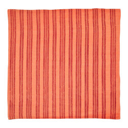 Cricket Radio - Indochine Paradise Stripe Napkin, Set of 2, Spice/Cherry - Whether you fold them, fan them or turn them into fancy flowers, these napkins will add style and color to your table. Made of soft Italian linen, each set of two 19-inch-square napkins features a paradise floral on front and simple stripes on the back in your choice of color combinations.