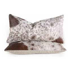 """Pfeifer Studio - Spotted Cowhide Pillow, 9"""" x 18"""" - The spots of a cow are an iconic look that add a hint of cowboy chic to any interior. These brown and white pillows are perfect when you need a touch of rugged texture, while keeping the comfort of a down filled pillow. And you know you're getting something unique, since no cow has identical spots!"""