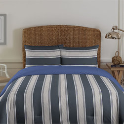 Nautica - Nautica Dartmoore CharcoalCotton Comforter Set - This reversible bedspread fits the stripe personality and the solid personality.  This beautiful duvet is as comfortable as it is beautiful.