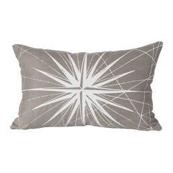 Montauk Compass Rose Small Pillow, Stone/White