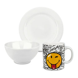 Waechtersbach - 3-Piece Breakfast Smiley Set, White - Start the day out right with this Fun Factory White Breakfast Set. Includes small side plate, cereal bowl, and smiley mug for your hot coffee.