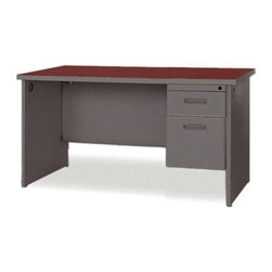 Lorell - Durable Single Pedestal Computer Desk - Office furniture is made of steel with a powder-coated textured finish for easy care. Durable laminate tops feature radius edges. Drawers and flipper doors glide on steel ball-bearings. Desk and credenza tops include 2'' grommets. Use the two grommets in each leg for cable connections between desks. Open shelves include wire channeling to desktop. Modular desking is Greenguard Indoor Air Quality Certified. Features: -Cherry Steel Laminate - Top.-Charcoal.-Grommet.-Lockable Drawer.-Single Pedestal Desk.-Ball-bearing Suspension.-Modesty Panel.-Leveling Glide.-Cord Management.-Durable.-Distressed: No.-Country of Manufacture: United States.Dimensions: -Dimensions: 48'' Width x 30'' Depth.-Overall Product Weight: 183 lbs.