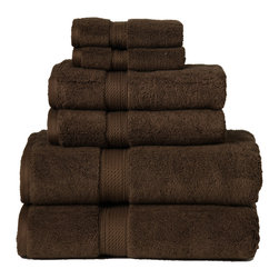 Luxurious Egyptian Cotton 900 Gram 6-Piece Chocolate Towel Set - Luxurious 900GSM 6-Piece Chocolate Towel Set