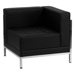 Flash Furniture - Imagination Series Contemporary Black Leather Right Corner Chair - This attractive black leather reception chair will complete your upscale reception area. The design of this chair allows it to adapt in a multitude of environments with its smooth upholstered back, tufted seat cushions and visible accent stainless steel frame.