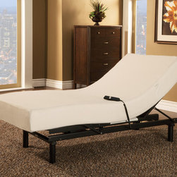 """Coaster - Twin Adjustable Bed with Mattress - The All-In-One adjustable bed is a streamlined adjustable base with a 7"""" visco memory foam mattress delivered in one box. The base has a single motor with head and foot motion. The mattress is secured to the base with a state of the art mattress cover which eliminates the need for a metal foot retention bar. The wired remote is easy to locate and eliminates any need for synchronization, just plug the bed in and it is ready to be enjoyed. Mattres features a 10 year warranty and adjustable bed features 20 year warranty.; Dimensions: 37""""L x 79""""W"""