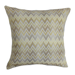 """The Pillow Collection - Yanira Zigzag Pillow Brown 18"""" x 18"""" - This decor pillow with a muted zigzag pattern in brown, natural and purple is a lovely addition to your home. The striking design in this accent pillow will add a contemporary appeal to your interiors. Change the look of your furniture in an instant by simply tossing this square pillow with solids and other patterns. Provide comfort and make your living space more relaxing with this 100% polyester throw pillow. Hidden zipper closure for easy cover removal.  Knife edge finish on all four sides.  Reversible pillow with the same fabric on the back side.  Spot cleaning suggested."""