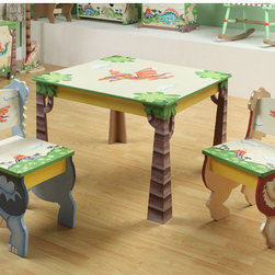 Teamson Kids - Dinosaur Kingdom Children's 3 Piece Table and Chair Set - Travel back to the Jurassic period with dinosaurs large and small. Let your little explorers enjoy a foreign land full of adventure and excitement with our playful dinosaur theme. A volcanic landscape, home to some of the cutest dinosaurs known to man, make our dinosaur range fun and exciting, becoming the setting of a great game of imagination. Bring durable, lasting pieces, wonder and adventure into your child's playroom with a whole world of Jurassic creatures Features: -Tree trunks serve as the table's legs.-3 dimensional T-Rex and Apatosaurus popping from the wood work.-Non-toxic paint, quality wood and craftsmanship.-Genuine hand painted.-Artistically hand carved.-Very sturdy, safe and high quality design.-Perfect for ages 3 and up.-Place to color, do arts and crafts, or have snack time.-Dinosaur Kingdom collection.-Collection: Dinosaur Kingdom.-Distressed: Yes.Dimensions: -Overall Product Weight: 18.00 lbs.