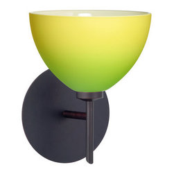Besa Lighting - Besa Lighting 1SW-4679GY Brella 1 Light Halogen Bathroom Sconce - Brella has a classical bell shape that complements aesthetic, while also built for optimal illumination. Our Green/Yellow Bicolor glass combines muted green and yellow tones onto a pressed glass. This glass is rich with colors that blend and fade into one another. The soft colors have a low key harmonious display that illuminates a warm mood. The smooth satin finish on the clear outer layer is a result of an extensive etching process. This handcrafted glass uses a process where every glass is consistently produced using a press mold, keeping variations to a minimum. The mini sconce is equipped with a decorative lamp holder mounted to either a low profile round or square canopy.Features: