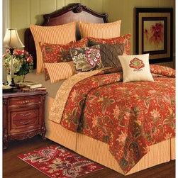 C and F Enterprises Constantine Bedding Set - Rich colors and an ornate botanical and basket weave design give the C and F Enterprises Constantine Bedding Set its style. This quilt and bedding collection is a riot of red, brown, green, and orange against a stunning red background. A handsome way to dress your bed, this bedding set features a quilt with a colorful botanical print that reverses to a tonal botanical for a subdued look. The ultimate in luxury, this collection is crafted of comfortable cotton and is machine-washable. Customize it by adding on a coordinating dust ruffle, pillow shams, and a variety of plump decorative throw pillows. It comes in your choice of size.Quilt Dimensions:Twin: 86L x 66W inchesFull/Queen: 92L x 90W inchesKing: 108L x 92W inches