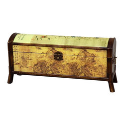 Oriental Furniture - Galloping Horse Design Storage Box - This stunning, round-topped storage chest is bursting with detail, from the relief-carved borders and the galloping horses on the top surface, to the intricate lines of calligraphy painted throughout. This piece is painted in brown and gold matte lacquer, and carefully antiqued to give it the look of a much-loved family heirloom. Built with Philippine mahogany and elm wood, this furniture features an indigenous Fujian lacquering style which uses seven carefully polished layers of lacquer-tree sap to create a complex, beautiful, and sturdy surface; each piece is then antique-finished for a gorgeous authentic look.