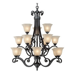 Dolan Designs - Dolan Designs 773 15 Light Up Lighting Chandelier Winston Collection - *15 Light Chandelier with Franciscan Glass Shades Comes with 8' of chain and 9' of wire 15 G16-1/2 bulbs required