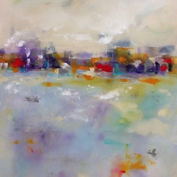"""Linda Donohue Fine Art - Colorful Abstract Cityscape Original Art - City Cheer 24 X 36 - This is an original acrylic painting on gallery wrapped canvas. The sides are painted a sand color from the front and it's ready to hang as it is or be put into a frame. This painting measured 36 x 24 1 1/2"""" and is inspired by the San Francisco Bay Area where I live."""