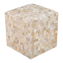Trail Leather Pouf - The contrasting light neutrals of the Trail Leather Pouf's small, square pieces imitate the shimmer of small glass tiles, but the effect of the piece is studied and soft. A composition in elegant contradictions, this slouchy cube is marked by a precise pattern; its casual nature is made more upscale by the use of several naturally-shaded leathers to build its walls.