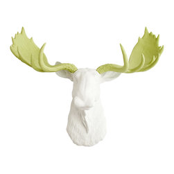 White Faux Taxidermy - The Cesar - White Faux Resin Moose Head w/Mint Green Antlers - Measurements: