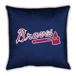 Sports Coverage - MLB Atlanta Braves Sidelines Toss Pillow - Make that new officially licensed MLB Atlanta Braves Sidelines Toss Pillow look as good as it feels. A must have for any true fan. A New Design - Same great quality!! Coordinating Toss pillow to match jersey material logo Comforter. Pillow is 17 x 17, 100% Polyester Cover and Fill. SIDELINES is trimmed in teams secondary color. 100% Polyester Jersey. Spot Clean only.