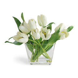 Winward Designs - Tulip In Glass Flower Arrangement, White - Our showstopper tulips in white are the stars of the flower world. This showy cup- or star-shaped flower features three petals and three sepals, which are nearly identical.