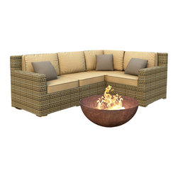 Forever Patio - Hampton 4 Piece Wicker Outdoor Sectional Set, Heather Wicker and Wheat Cushions - The 4 Piece Hampton Modern Sectional Set by Forever Patio with Gold Sunbrella cushions (FP-HAM-4SEC-HT-WM) sports the latest modern wicker design while providing an incredibly luxurious outdoor seating experience. The set seats 4 adults comfortably, and includes a left arm, right arm, middle and corner section.This set features Heather wicker, which is made from High-Density Polyethylene (HDPE) for outdoor use. Every strand of this wicker is infused with its natural color and UV-inhibitors that prevent cracking, chipping and fading ordinarily caused by sunlight. Each piece features thick-gauged, powder-coated aluminum frames that make the set extremely durable and resistant to corrosion. Also included with the set are cushions covered in fade- and mildew-resistant Sunbrella fabric, available in a wide selection of colors. The seating is generously sized and the back cushions are overstuffed, providing unmatched outdoor comfort.