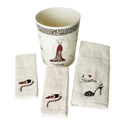 Saturday Knight LTD - Saturday Knight Red Carpet Ready 4-piece Towel and Wastebasket Set - Step out in style with the Red Carpet towel and accessory set. The set includes a waste basket with evening gowns,stilettos,compact mirrors and nail polish.  The cream towels have embroidered lipstick,necklace,and stilettos.