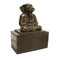 EttansPalace - Cast Iron Meditating Dog Bookend - Quality foundry cast iron collectible. Our calm canine is so Zen that he'll challenge you to a stare-down without blinking! Striking a classic meditation pose, man's best friend is a serene animal sculpture crafted as an 8 lb. cast iron bookend weighty enough to hold up your sturdiest volumes. Our treasured dog can also moonlight as a paperweight, animal sculpture or creative doorstop. Great as a set with our Spirit of Zen: Meditating Cat Cast Iron Bookend companion piece!