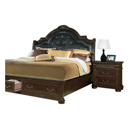 Homelegance - Homelegance Silas 2-Piece Sleigh Bedroom Set with Storage Footboard - Walking into your bedroom, you stop and stare at the Silas collection. Each detail is a statement of your traditional sense of style - the Rich cherry finish , elaborate twist carvings, button-tufted bonded leather mansion headboard, antiqued hardware and fluted pilasters - elegant and charming. Those details blend in perfect harmony creating the ultimate in grand Old World presence. Also available in sleigh platform bed with footboard storages.