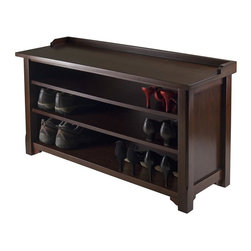 Winsome Wood - Hall Bench with shelves - Servers as a seating. Plenty of shoe storage with three shelves. 5.12 in. clearance between shelf. Made from solid, composite wood. Antique walnut finish. Assembly required. Seat area: 38.43 in. W x 13.39 in. D. Each shelf: 34.49 in. W x 12.32 in. D. Seat height: 20.87 in.. Overall: 40 in. W x 14.17 in. D x 22 in. H