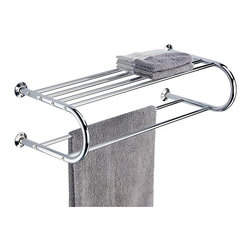 Organize It All - Wall Mounting Shelf with Towel Rack - This chrome wall mounting shelf is a beauty that will match with any bath decor. The top shelf holds clean towels while the two towel rack provides extra space to hang dry/damp towels. This piece is the perfect example of beauty meets function.