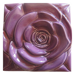 Roza - Purple Rose Purple Rose Tile-Wall Art - Wall Décor,