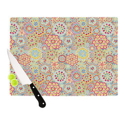 """Kess InHouse - Julia Grifol """"My Happy Flowers in Red"""" Cutting Board (11"""" x 7.5"""") - These sturdy tempered glass cutting boards will make everything you chop look like a Dutch painting. Perfect the art of cooking with your KESS InHouse unique art cutting board. Go for patterns or painted, either way this non-skid, dishwasher safe cutting board is perfect for preparing any artistic dinner or serving. Cut, chop, serve or frame, all of these unique cutting boards are gorgeous."""