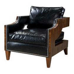 """Theodore Alexander - Winterborne Chair - A Contemporary upholstered club chair with rosewood veneered sides, the cushion back and seat between open padded arms wrapping around the T back, on square tapering legs.  Seat Height: 21 1/2""""  Arm Height: 27""""  With over 50 types of veneer used on our product, we select each piece for figure and colour and exclusively hand cut each piece to create our beautiful surfaces, each a uniquely created work of art.  Theodore Alexander upholstery uses the finest quality materials and is hand applied by expert craftspeople to ensure the highest standards in comfort, longevity and style.  Our craftsmen select wood based on beauty, colour and suitability to each individual piece.  We still use traditional furniture making, wood working techniques and materials to ensure enduring quality in every one of our products."""