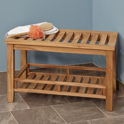 Large Teak Rectangular Shower Stool - The Large Teak Wood Rectangular Shower Seat provides functional seating and a storage shelf to dontain bathroom accessories.