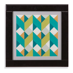 Bassett Mirror - Bassett Mirror Framed Under Glass Art, Custom Chevron Illusion II - The second in the Custom Chevron Illusion, this fun contemporary piece features a playful, yet sophisticated compilation of chevron patterns in alternating colors and designs, resulting in a beautiful, yet tricky illusion! The piece is surrounded with an off-white matte and framed beneath glass in a thick black Mirrored frame.