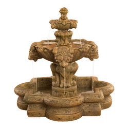 Courtyard Lion Fountain - Small, Autumn Leaf - Want to create a more captivating and relaxing outside scenery?  The Courtyard Lion Fountain is a unique addition to your home and will surely be adored by people who see it. This striking fountain is made of durable cast stone by professional craftsmen in the USA. It's a great investment that will last for a very long time.
