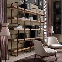 Ulivi Harmony Bookcase - Harmony Modern Italian designer Italian Bookcase handmade with American Walnut with transparent or bronze glass shelves and metal covered shelf holder. This luxury modern furniture collection features wood furniture upholstered in Italian leather or exotic materials such as goat skin and shagreen. Wide selections of Italian leathers are available to choose from (samples available upon request). Made in Italy.