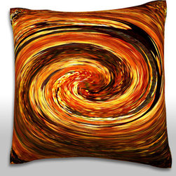 Custom Photo Factory - Swirling Autumn Leaves Pillow.  Polyester Velour Throw Pillow - Swirling Autumn Leaves Pillow. 18 Inches x 18  Inches.  Made in Los Angeles, CA, Set includes: One (1) pillow. Pattern: Full color dye sublimation art print. Cover closure: Concealed zipper. Cover materials: 100-percent polyester velour. Fill materials: Non-allergenic 100-percent polyester. Pillow shape: Square. Dimensions: 18.45 inches wide x 18.45 inches long. Care instructions: Machine washable