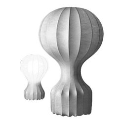 """Flos - Flos Gatto table lamp - The Gatto table lamp has been designed by Achille and Pier Giacomo Castiglioni for Flos. This table lamp has the appearance of a hot air balloon. Its white powder coated internal steel structure is sprayed with a unique """"cocoon"""" resin to create the diffuser which is then protected by a transparent sprayed finish.  Item is in stock and ready to ship!!   Product description: The Gatto table lamp has been designed by Achille and Pier Giacomo Castiglioni for Flos. This table lamp has the appearance of a hot air balloon. Its white powder coated internal steel structure is sprayed with a unique """"cocoon"""" resin to create the diffuser which is then protected by a transparent sprayed finish.  Item is in stock and ready to ship!!  Details:                         Manufacturer:             Flos                             Designer:                         Achille and Pier Giacomo Castiglioni -  cir. 1960                                         Made in:            Italy                            Dimensions:             small: Width: 7.5"""" (19 cm) X  Height: 11.8"""" (30 cm)             large: Width: 13.8"""" (35 cm) X  Height: 22"""" (56 cm)                            Light bulb:             1 x  60W Incandescent                            Material:              white """"cocoon"""" resin, steel"""