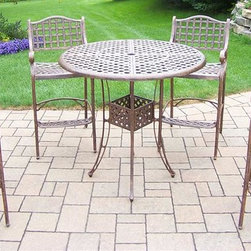 Oakland Living - 5-Pc Outdoor Bar set - Includes bar table with umbrella opening and four bar stools. Fade, chip and crack resistant. Traditional lattice pattern. Metal hardware. Warranty: One year. Made from rust-free cast aluminum. Antique bronze hardened powder coat finish. Minimal assembly required. Table: 42 in. Dia. x 44 in. H (60 lbs.). Stool: 21.5 in. W x 22 in. D x 46 in. H (47 lbs.)This five piece Bar Set will be a beautiful addition to your patio, balcony or outdoor entertainment area. Bar sets are perfect for any small space, or to accent a larger space. The Oakland elite collection combines old world charm and modern designs giving you a rich addition to any outdoor setting. Each piece is hand cast and finished for the highest quality possible.