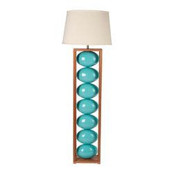 """stephanie Nichols Studio - Ceres Turquoise Floor Lamp - The Ceres Floor Lamp is a mahogany base and frame with brilliantly glazed blue ceramic spheres.  The lamp is fitted with a dark bronze 3 way rotary turn knob and harp, all parts UL approved. It is rated a maximum 250w/250v. However we recommend using a 3 way bulb or single 60w (bulbs not included). Comes with a hardback linen shade. Shade size: top 16"""" x 18"""" bottom x 13"""" tall. Product is made to order which can result in longer lead times."""