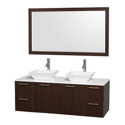 "Wyndham Collection - Amare 60"" Espresso Double Sink Vanity w/ White Man-Made Stone Top & 58"" Mirror - Modern clean lines and a truly elegant design aesthetic meet affordability in the Wyndham Collection Amare Vanity. Available with green glass or pure white man-made stone counters, and featuring soft close door hinges and drawer glides, you'll never hear a noisy door again! Meticulously finished with brushed Chrome hardware, the attention to detail on this elegant contemporary vanity is unrivalled."