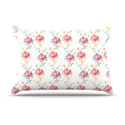 "Kess InHouse - Laura Escalante ""Cross Stitch Flowers"" White Pink Pillow Case, King (36"" x 20"") - This pillowcase, is just as bunny soft as the Kess InHouse duvet. It's made of microfiber velvety fleece. This machine washable fleece pillow case is the perfect accent to any duvet. Be your Bed's Curator."