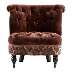 Cyan Design - Cyan Design Mrs. Lovely Too Chair - Rich chocolate colored upholstery has been paired with heavy tufted for an elegant look to this Cyan Design chair. This Mrs. Lovely Too chair features an armless design and accents of damask fabric, with turned front legs complete with wheels and a coordinating Brown finish.