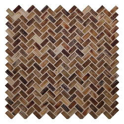 "Glass Tile Oasis - Desert Herringbone Brown Pool Frosted Glass - Sheet size:  Approx .99 Sq. Ft.     Tile Size:  1/2"" x 1""     Tiles per sheet:  64     Tile thickness:  1/4""     Recycled Components:   70%     Sheet Mount: Paper Face     Sold by the sheet    -  Waterfall glass tiles are each a one of a kind work of art. Each style features complimentary colors  shot through with transparent layers of contrasting colors. Mosaics are stacked together creating a unique repeating pattern.Waterfall are hand-poured and will have a certain amount of variation and variegation of color  tone  shade and size. Additionally  you will notice creases  wrinkles  shivers  waves  bubbles topped off with a natural surface to catch all forms of light for a brilliant effect. These characteristics of natural glass only serve to enhance the final beauty of the installation."