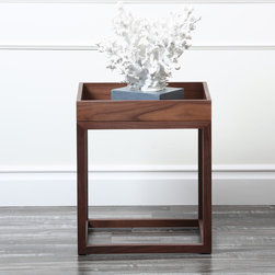 Abbyson Living - Abbyson Living Charleston Square Walnut End Table - This beautiful walnut end table with its unique and contemporary design comes fully assembled, making it an easy choice to add to your home. This end table is poised to complement your home for years to come.
